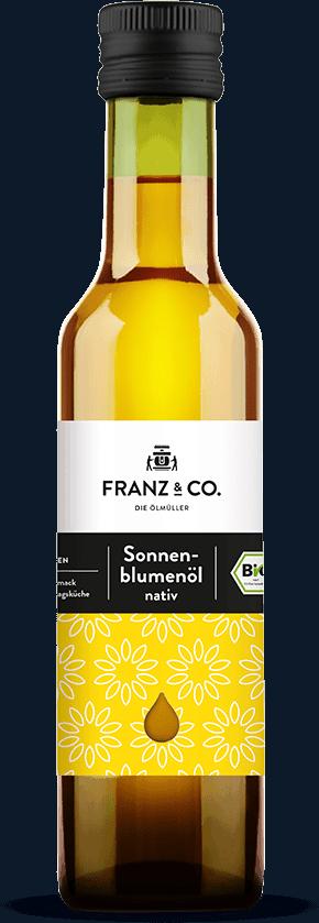 250 ml Flasche natives Bio-Sonnenblumenöl von FRANZ & CO.