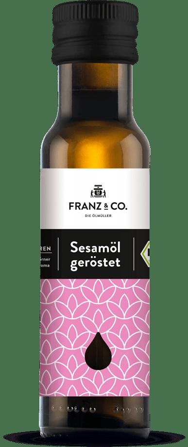 100 ml Flasche geröstetes Bio-Sesamöl von FRANZ & CO.