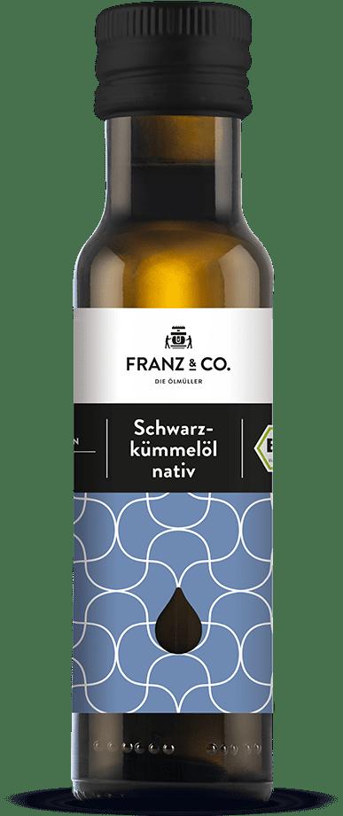 100 ml Flasche natives Bio-Schwarzkümmelöl von FRANZ & CO.