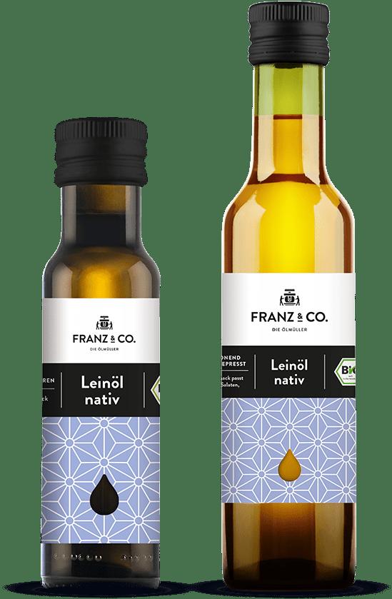 100 ml und 250 ml Flasche natives Bio-Leinöl von FRANZ & CO.